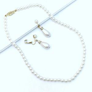 Vintage Pearl Necklace Set w Clip Drop Earrings